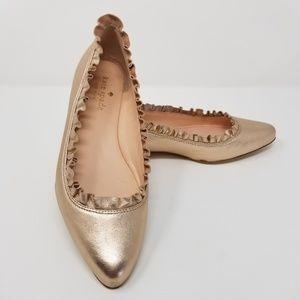 {KATE•SPADE} Gold Leather Nicole Ruffle Flats Sz 5
